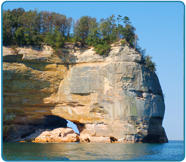 The Grand Portal is a well known point of interest found within the Pictured Rocks National Lakeshore.